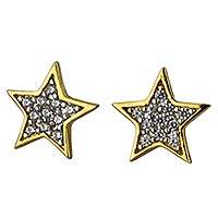 Gold plated button earrings, 'Sparkling Starlight' - Star Button Earrings in Gold Plate with Cubic Zirconia