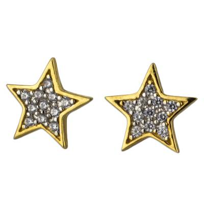 Star Button Earrings in Gold Plate with Cubic Zirconia