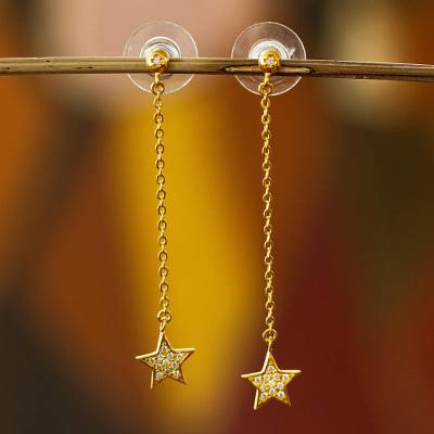 Gold plated dangle earrings, 'Sparkling Starlight' - Star Theme Gold Plated Dangle Earrings with Cubic Zirconia