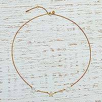 Gold plated pendant necklace, 'Sparkling Starlight' - Fair Trade Gold Plated Cubic Zirconia Star Necklace