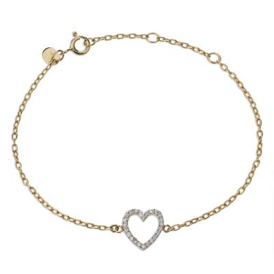 Fair Trade Gold Plate Heart Bracelet with Cubic Zirconia