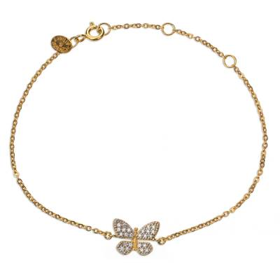 Mexican Gold Plated Butterfly Bracelet with Cubic Zirconia