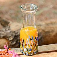 Blown glass carafe, 'Confetti Festival' - Artisan Crafted Colorful Mexican Hand Blown Carafe (28 oz)
