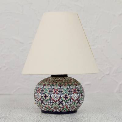Ceramic table lamp, 'Guanajuato Wildflowers' - Colorful Ceramic Table Lamp and Shade Handcrafted in Mexico
