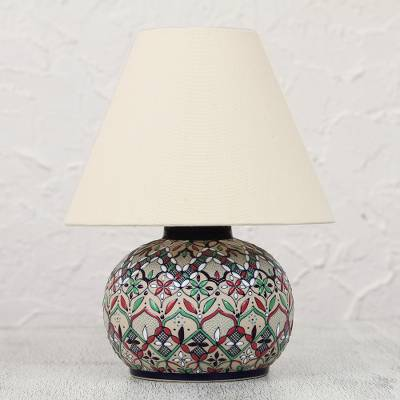 Ceramic table lamp, 'Guanajuato Crocus' - Handcrafted Floral Ceramic Table Lamp and Shade from Mexico