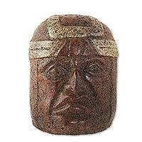 Ceramic sculpture, 'Mexico's Olmec Head' (15 inch) - Handcrafted Mexico Olmec Replica Ceramic Sculpture (15 Inch)
