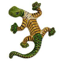 Ceramic wall sculpture, 'Tiger Lizard' - Artisan Crafted Green Yellow Ceramic Lizard for Wall Display