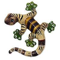 Ceramic wall sculpture, 'Brown Salamander' - Handmade Ceramic Salamander Wall Sculpture from Mexico