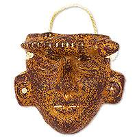Ceramic wall mask, 'Totonac Iguana Man' - Totonac Replica Handcrafted Ceramic Mask with Iguana