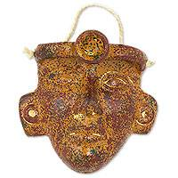 Ceramic wall mask, 'Pre-Hispanic Youth' - Artisan Crafted Archaeology Inspired Ceramic Mask