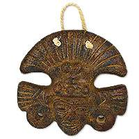 Ceramic wall mask, 'Wisdom of Elders' - Pre-Hispanic Elder Handmade Weathered Ceramic Wall Mask