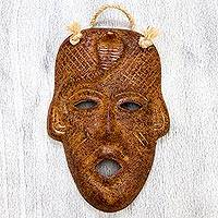 Ceramic mask, 'Cobra Spirit' - Weathered Cobra Face Handmade Ceramic Wall Mask Ocher Color