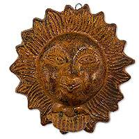 Ceramic wall art, 'Amorous Sun' (14 inch) - Kissing Sun Ceramic Wall Art Weathered Sculpture (14 inch)
