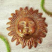 Ceramic wall art, 'Amorous Sun' (10 inch) - Kissing Sun Ceramic Wall Art Weathered Sculpture (10 inch)