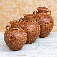 Ceramic decorative vessels, 'Hacienda Nostalgia' (set of 3) - 3 Mexican Hacienda Style Ceramic Ocher Decorative Vessels