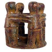 Ceramic sculpture, 'Four Ceremonial Dancers' (11 inch) - Pre Hispanic Style Ceramic Sculpture of Four Fire Dancers