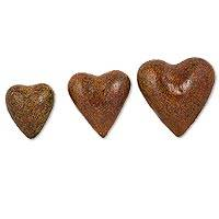 Ceramic wall art, 'Romantic Hearts' (set of 3) - 3 Ceramic Mexican Wall Art Heart Sculptures Crafted by Hand