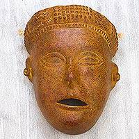 Ceramic wall mask, 'Lady of Colima' - Ceramic Wall Mask Female Pre Hispanic Art Style Mexico