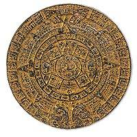 Ceramic wall art, 'Glorious Aztec Calendar' (12 inch) - Aztec Calendar Sun Stone Replica Ceramic Wall Art Sculpture