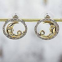 Gold plated button earrings, 'Crescent Smile' - Gold Plated 925 Silver and Cubic Zirconia Moon Earrings