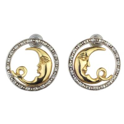 Gold Plated 925 Silver and Cubic Zirconia Moon Earrings