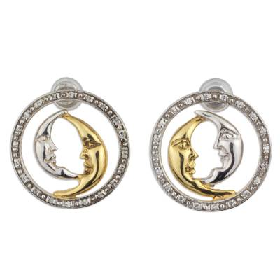 Twin Crescent Moons on 925 Silver and Gold Plated Earrings