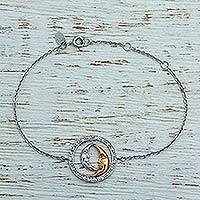 Gold accent rhodium plated sterling silver pendant bracelet,