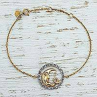 Gold plated pendant bracelet, 'Crescent Smile' - Gold Plated 925 Silver and Cubic Zirconia Moon Bracelet