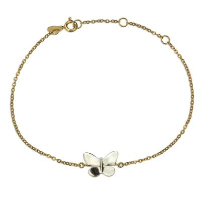 Gold and rhodium plated sterling silver pendant bracelet, 'Butterfly Queen' - 22k Gold and Rhodium Plated Butterfly Bracelet from Mexico