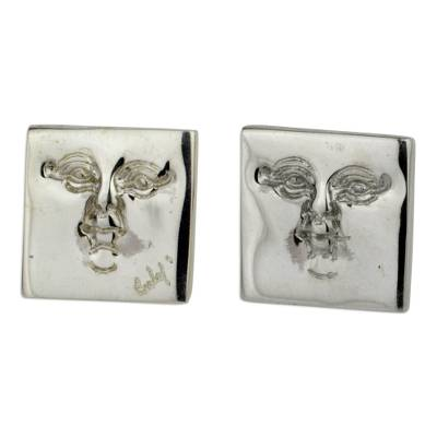 Square Masks Sterling Silver Earrings Artisan Jewelry