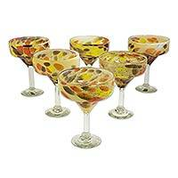 Blown glass margarita glasses, 'Amber Fantasy' (set of 6) - 6 Mexican Hand Blown Amber Polka Dot Margarita Glasses
