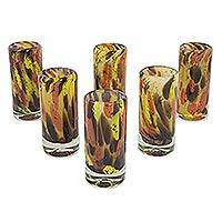 Blown glass shot glasses, 'Amber Fantasy' (set of 6) - 6 Hand Blown Glass Amber Polka Mexican Dot Shot Glasses