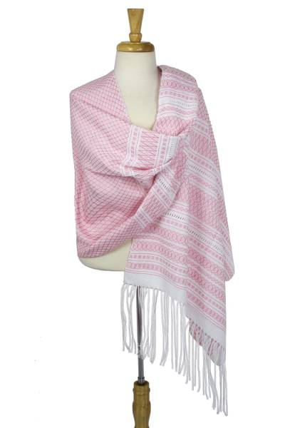 Cotton rebozo shawl, 'Diamonds in Rose' - Mexican Pink and White Handwoven Zapotec Rebozo Shawl