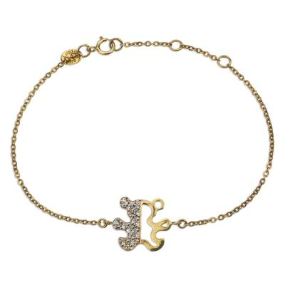 Gold Plated Teddy Bear Bracelet with Cubic Zirconia