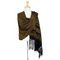Cotton rebozo shawl, 'Golden Poinsettias' - Mexican Cotton Rebozo Shawl with Golden Flowers on Black