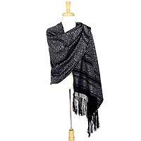 Cotton rebozo shawl, 'Silver Poinsettias' - Black Cotton with Silver Flowers Rebozo Mexican Shawl Wrap