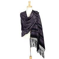 Cotton rebozo shawl, 'Fiesta Poinsettias' - Cotton Rebozo Mexican Shawl with Multicolor Flowers on Black