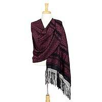 Cotton rebozo shawl, 'Rose Poinsettias' - Handwoven Cotton Shawl Pink Flowers on Black Mexican Rebozo