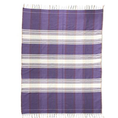 Cotton tablecloth, 'Purple Horizon' - Hand Woven 100% Cotton Zapotec Purple Tablecloth