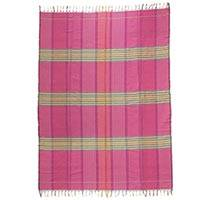 Cotton tablecloth, 'Pink Horizon' - 100% Cotton Hand Woven Zapotec Tablecloth with Fringe