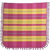 Cotton bedspread, 'Pink Sunset' (twin) - Hand Crafted 100% Cotton Pink and Yellow Bedspread (Twin)