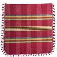 Cotton bedspread, 'Monsoon Rainbow' (twin) - Zapotec Hand Woven 100% Cotton Colorful Bedspread (Twin)