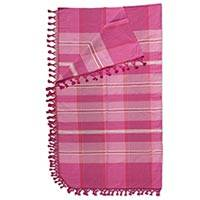 Cotton bedspread, 'Sweet Awakening' (full/queen) - Hand Woven Zapotec 100% Cotton Pink Bedspread (Full/Queen)
