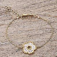 Gold plated beaded flower pendant bracelet,