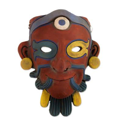 Ceramic mask, 'Ek Chuak Maya Lord' - Maya Lord of War Commerce and Cocoa Ceramic Wall Mask