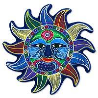 Ceramic wall art, 'Nautical Sun' - Signed Ceramic Sun Wall Sculpture Handcrafted from Mexico