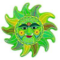 Ceramic wall adornment, 'Fresh April Sun' - Bright Green Signed Ceramic Sun Wall Sculpture from Mexico