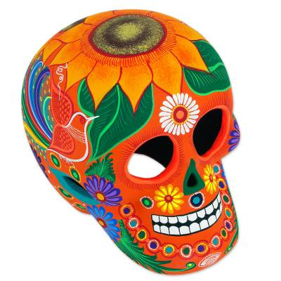 Ceramic sculpture, 'Friendly Skull' - Floral Ceramic Day of the Dead Skull Sculpture from Mexico