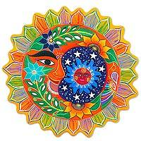 Ceramic wall adornment, 'Whimsical Eclipse' - Hand Painted Sun and Moon Ceramic Wall Art from Mexico