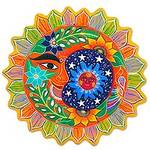 Hand Painted Sun and Moon Ceramic Wall Art from Mexico, 'Whimsical Eclipse'